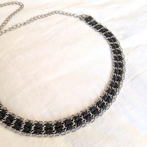CHICO'S Silver Black Chain Belt Medium/ Large